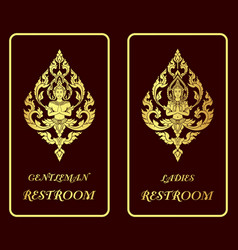 Restroom golden signs vector