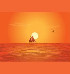 Sailing ship on sunset vector