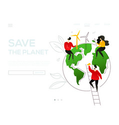 save the planet - colorful flat design style web vector image