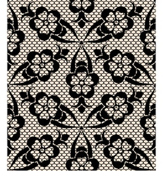 Seamless black lace pattern on beige background vector