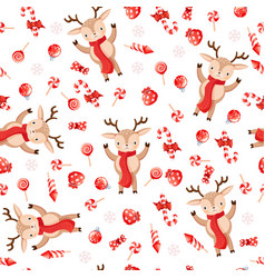 seamless pattern with cute deers hand-drawn vector image