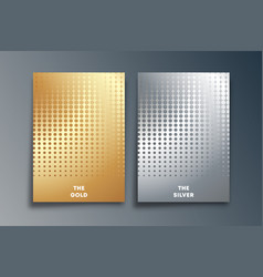 set gold and silver background with halftone vector image