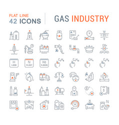 set line icons gas industry vector image