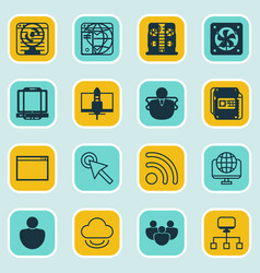 set of 16 online connection icons includes blog vector image