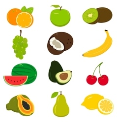 Set of colorful cartoon fruit icons isolated on vector image