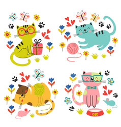 set of isolated cute cats in flowers vector image