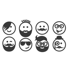 Set of outline hipster emoticons emoji vector