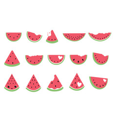 set pieces watermelon collection slices vector image