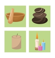 Set spa wellness care health treatment vector