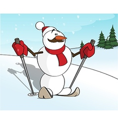 Snowman skiing vector image vector image
