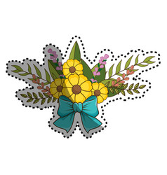 Sticker flowers bouquet floral design with leaves vector