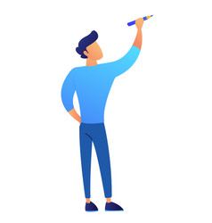 student holding a pencil and drawing vector image