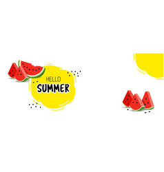 summer banner with juicy watermelon slices vector image