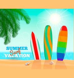summer surfing vacation composition vector image