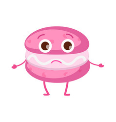 sweets icon of isolated pink unhappy macaroon vector image