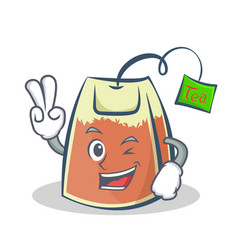 two finger tea bag character cartoon vector image