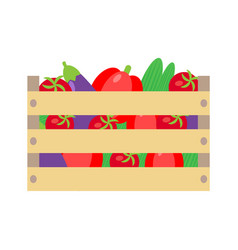 vegetables crate and wooden boxes vector image