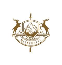 vintage retro rustic badge arrowhead shield deer vector image