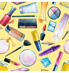 Watercolor cosmetics pattern vector image