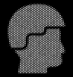 White dot soldier helmet icon vector