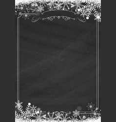 winter snowflake retro border and blackboard vector image
