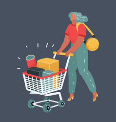 woman with grocery cart on dark background vector image