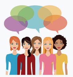 Women team communication bubble speech vector