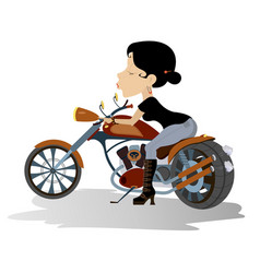 Young biker babe isolated vector