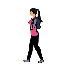 young woman walking with backpack vector image