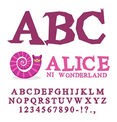 Alice in Wonderland font Fairy ABC mad Alphabet vector image