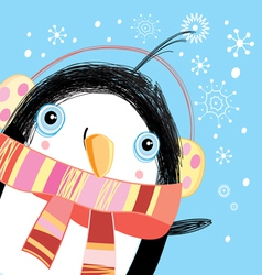 Christmas greeting card with a penguin vector image vector image