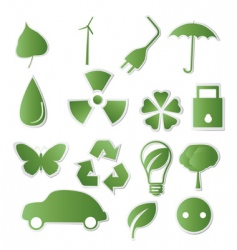 collection of green Eco icons vector image