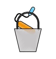 construction bucket roller paint color renovation vector image