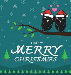 Owl merry christmas vector image vector image