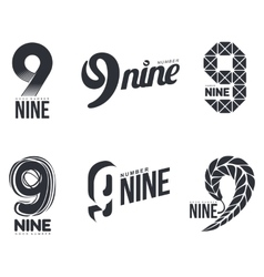 Set of black and white number nine logo templates vector image
