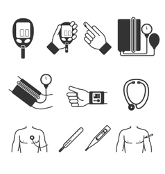 Set of medical measurement and tools vector image