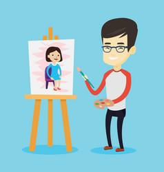 creative male artist painting portrait vector image