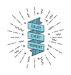 Enjoy every moment flat design thin line banner vector image vector image