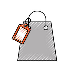 paper shopping bag with paper handles and tag vector image