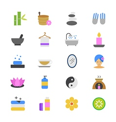 Spa Flat Color Icons vector image vector image