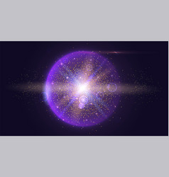 bright glowing ball filled with particles and dust vector image vector image