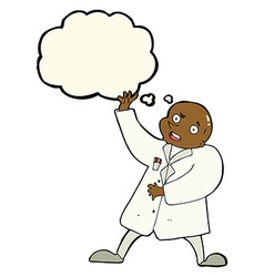 Cartoon mad scientist with thought bubble vector
