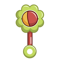 colorful baby rattle icon cartoon style vector image