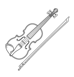 dark contour fiddle violin vector image