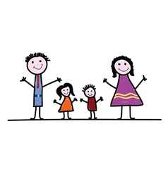 family cartoon color vector image