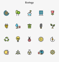 Flat line color icons green vector image vector image