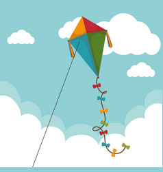 kite flying toy icon vector image vector image