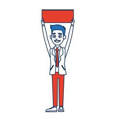 Man cartoon holding blank board election vector
