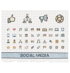 Social media hand drawing line icons vector image