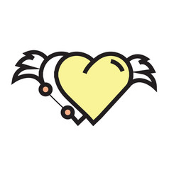 two hearts wings pen tool design yellow vector image vector image